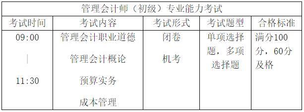 初级管理会计师考试科目及形式