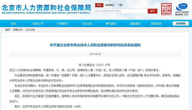 关于建立北京市专业技术人员职业资格与职称对应关系的通知